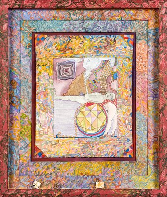 Kaleidoscope imaginary manuscript: Dreaming man with am  Aim